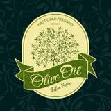Concetto di progetto di logo dell'autoadesivo di olivo Fotografia Stock Libera da Diritti