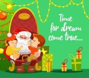 Concetto di progetto di Natale con i bambini della tenuta di Santa Immagine Stock Libera da Diritti