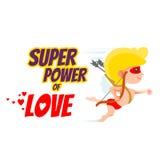 Concetto di progetto di San Valentino con il cupido come eroe eccellente Fotografie Stock