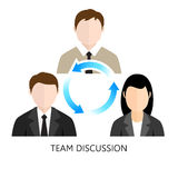 Concetto di progetto di Team Discussion Icon Flat Fotografie Stock