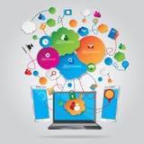 Concetto di progetto di tecnologia di rete sociale Immagini Stock Libere da Diritti