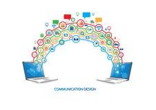 Concetto di progetto di tecnologia di rete sociale illustrazione di stock