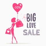 Concetto di progetto di vendita con i sacchetti della spesa della tenuta della donna Fotografia Stock