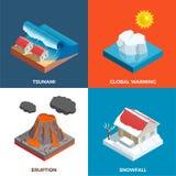 Concetto di progetto isometrico di disastri naturali illustrazione vettoriale