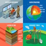 Concetto di progetto isometrico di esplorazione della terra illustrazione di stock