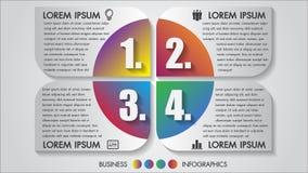 Concetto di progetto di opzioni dell'illustrazione 4 di vettore di infographics di affari multicolore con l'icona Modello per l'o illustrazione di stock