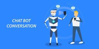 Concetto di progetto piano del bot di chiacchierata, uomo che interagisce con un chatbot con la conversazione royalty illustrazione gratis