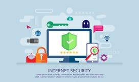 Concetto di progetto piano di sicurezza di Internet, concetto sicuro del lavoro, adatto ad insegna, fondo, illustrazione di libro fotografia stock