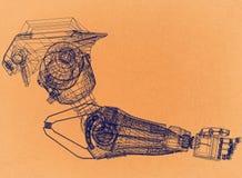 Concetto di progetto robot del braccio - retro architetto Blueprint fotografia stock libera da diritti