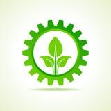 Concetto di progetto verde dell'icona della parte di energia Fotografia Stock