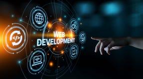 Concetto di programmazione di affari di tecnologia di Internet di codifica di sviluppo Web immagine stock libera da diritti