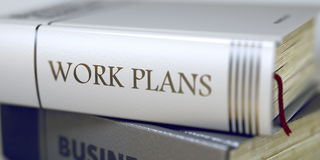 Concetto di programmi di lavoro sul titolo del libro 3d Immagine Stock Libera da Diritti
