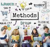 Concetto di progresso di flusso di lavoro di affari di strategia di metodo immagini stock