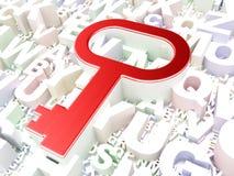 Concetto di protezione: Chiave sul fondo di alfabeto Fotografia Stock