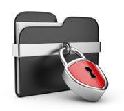Concetto di protezione dei dati. dispositivo di piegatura e serratura 3D Fotografia Stock