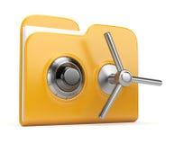 Concetto di protezione dei dati. dispositivo di piegatura e serratura 3D Immagine Stock