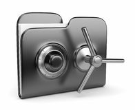 Concetto di protezione dei dati. dispositivo di piegatura e serratura 3D Fotografie Stock Libere da Diritti