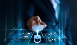 Concetto di protezione dei dati GDPR UE Sicurezza cyber immagini stock libere da diritti