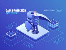 Concetto di protezione dei dati, l'uomo nel supereroe del mantello, icona isometrica della base di dati, schermo protettivo, Inte illustrazione di stock