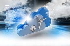 Concetto di protezione dei dati nella computazione della nuvola Fotografie Stock