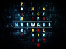 Concetto di protezione: malware di parola nella soluzione Immagine Stock Libera da Diritti