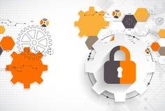 Concetto di protezione Protegga il meccanismo, la segretezza del sistema royalty illustrazione gratis