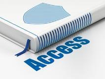 Concetto di protezione: schermo del libro, Access su fondo bianco Immagine Stock