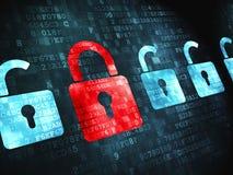 Concetto di protezione: su fondo digitale Immagine Stock Libera da Diritti