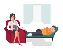 Concetto di psicoterapia Paziente, uomo con un'illustrazione piana di Colorful dello psicologo royalty illustrazione gratis