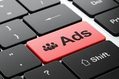 Concetto di pubblicità: Gente di affari ed annunci sopra Immagini Stock Libere da Diritti