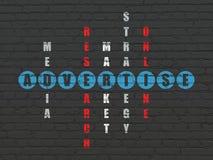 Concetto di pubblicità: la parola annuncia nella soluzione Fotografie Stock