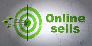 Concetto di pubblicità: obiettivo e vendite online sul fondo della parete Fotografia Stock Libera da Diritti
