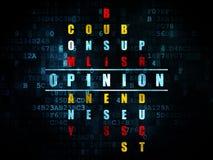 Concetto di pubblicità: opinione di parola nella soluzione Immagine Stock