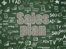 Concetto di pubblicità: Piano di vendite sul fondo del consiglio scolastico Immagine Stock