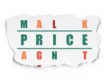Concetto di pubblicità: prezzo di parola nella soluzione Fotografia Stock