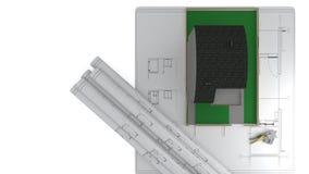 Concetto di pubblicità di progetto di costruzione, rappresentazione 3d illustrazione vettoriale