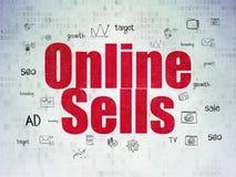 Concetto di pubblicità: Vendite online sul fondo della carta di dati di Digital Fotografia Stock