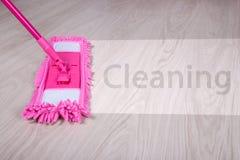 Concetto di pulizia - bagni la zazzera sul pavimento di legno con pulizia di parola Immagine Stock