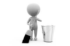 concetto di pulizia dell'uomo 3d Fotografia Stock Libera da Diritti