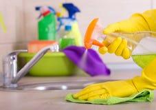 Concetto di pulizia della cucina Fotografia Stock Libera da Diritti