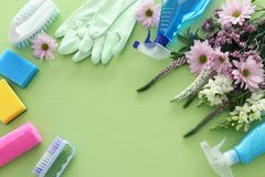 Concetto di pulizie di primavera con i rifornimenti sopra fondo di legno verde pastello Vista superiore, disposizione piana immagini stock