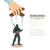 Concetto di Puppet Terrorism Control del terrorista Fotografia Stock