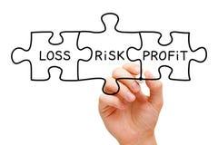 Concetto di puzzle di profitto di perdita di rischio Immagine Stock Libera da Diritti