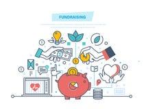 Concetto di raccolta di fondi Evento di raccolta di fondi, centro volontario Donazione nella forma del cuore illustrazione di stock