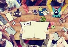 Concetto di radiodiffusione di News Meeting Teamwork del giornalista illustrazione vettoriale