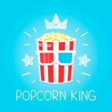Concetto di re Popcorn per il fumetto di vettore del cinema piano e l'illustrazione di scarabocchio illustrazione di stock