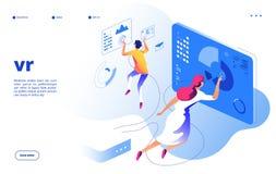 Concetto di realt? virtuale Aggeggio dell'interfaccia di realt? aumentato spettacolo futuristico mobile digitale della gente di V illustrazione di stock