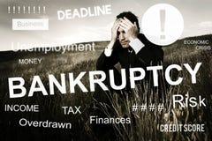 Concetto di recessione di crisi finanziaria di fallimento del fallimento fotografia stock