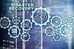 Concetto di recupero da disastro di Big Data piano di sostegno Prevenzione degli infortuni di dati su uno schermo virtuale fotografia stock
