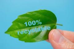 Concetto 100% di Recycable Fotografia Stock Libera da Diritti